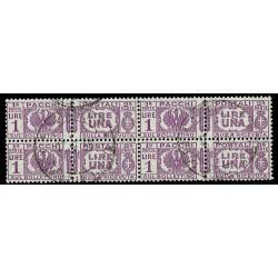 1927-32 Pacchi Postali 1 Lira Sas.30 Quartina annullata