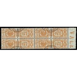 1927-32 Pacchi Postali 3 Lire Sas.32 Quartina annullata