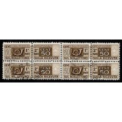 1946-51 Pacchi Postali 50cent ruota Sas.67 quartina timbrata