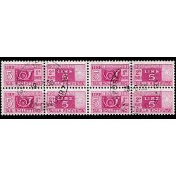 1946-51 Pacchi Postali 5 Lire ruota Sas.72 quartina timbrata