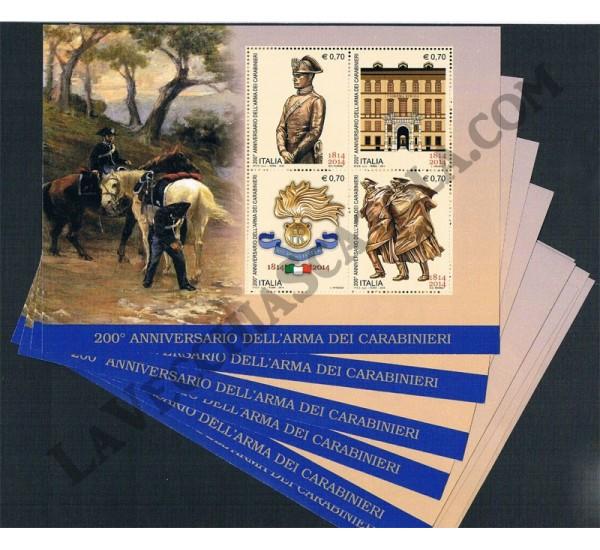 2014 Repubblica - Foglietto anniversario arma dei Carabinieri