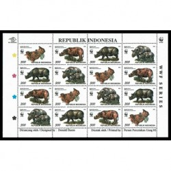 1996 Indonesia WWF Rinoceronti minifoglio
