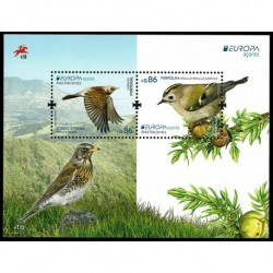 2019 Isole Azzorre Emissione Europa Uccelli Foglietto