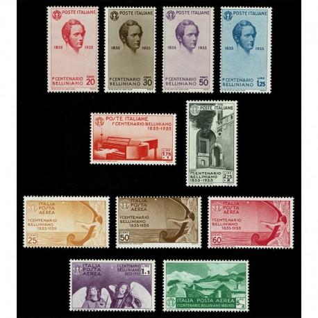 1935 Regno Centenario della morte Bellini con Aerea MNH/** 11val