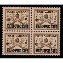 1931 Vaticano Pacchi Postali 5cent Sas.1 quartina MNH/**