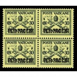 1931 Vaticano Pacchi Postali 30 cent Sas.5 quartina MNH/**