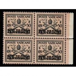 1931 Vaticano Pacchi Postali 50 cent Sas.5 quartina MNH/**