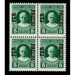 1931 Vaticano Pacchi Postali 5 lire Sas.12 quartina MNH/**