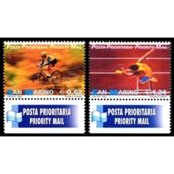 2002 San Marino francobolli Posta Prioritaria - lo Sport