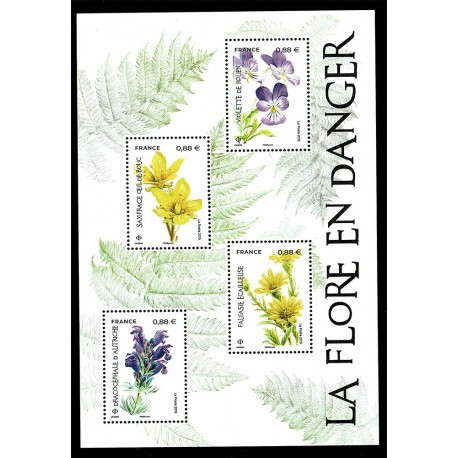 2019 Francia la flora in pericolo foglietto fiori