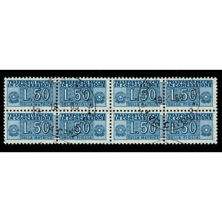 1955 Pacchi in Concessione 50 Lire Sas.6 Quartina annullata