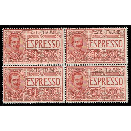 1920 Regno Espresso 50cent Sas.E4 - Quartina nuova MNH/**