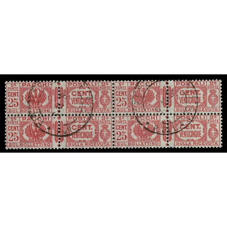 1927-32 Regno Pacchi Postali 25cent Sas.26 Quartina annullata