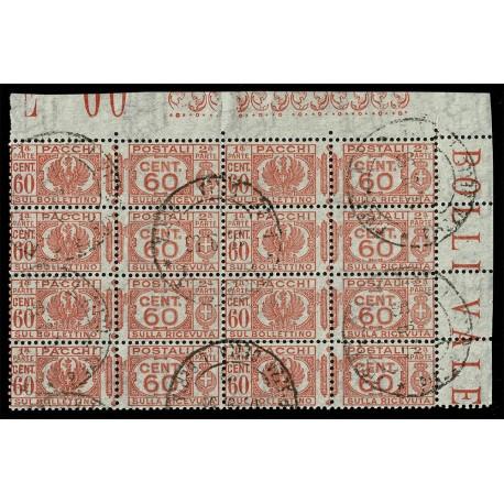 1927-32 Pacchi Postali 60cent Sas.29 Blocco annullato