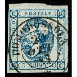 1863 Regno 15cent Litografico II° tipo Sas.13 annullo 2CO di Domodossola