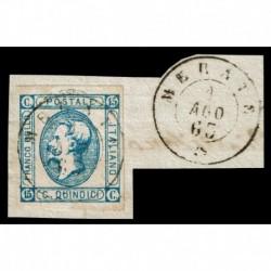 1863 Regno 15cent Litografico II° tipo Sas.13 annullo 2CO di Merate