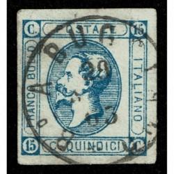 1863 Regno 15cent Litografico II° tipo Sas.13 annullo Borgo a Buggiano