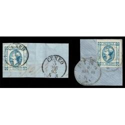 1863 Regno 15cent Litografico I° e II° tipo Sas.12+ Sas.13 annulli Pisa e Bologna