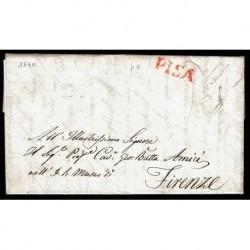 1840 Prefilatelica da Pisa annullo rosso a Firenze con testo