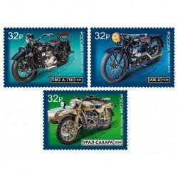 2019 Russia La storia della moto set 3 francobolli