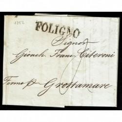 1852 Prefilatelica da Foligno a Grottamare con testo