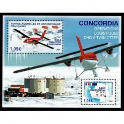 2020 TAAF foglietto Twin Otter Concordia Operazione Italia/Francia