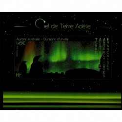 2020 TAAF foglietto Aurora Australe cielo dalla Terra di Adelie