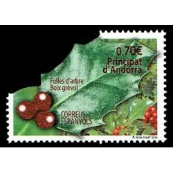2019 Andorra Natale laico - foglia di pungitopo - Unusual Stamps
