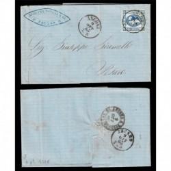 1863 15cent litografico I tipo su Lettera da Ancona a Pesato + transito