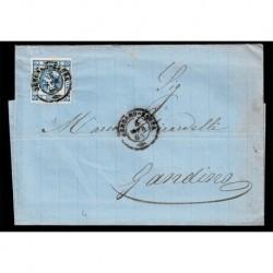 1863 15cent litografico I tipo su Lettera da Bergamo Bassa a Gandino