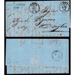1863 15cent litografico I tipo su Lettera da Ceva a Osiglia