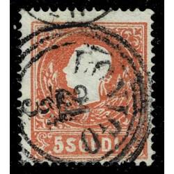 1859 ASI Lombardo Veneto 5 Soldi II° tipo Sas.30 - Annullo C3 Lonigo