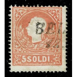 1859 ASI Lombardo Veneto 5 Soldi II° tipo Sas.30 - Annullo Bellano Stampatello