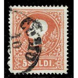 1858 ASI Lombardo Veneto 5 Soldi I° tipo Sas.25 - Annullo Como