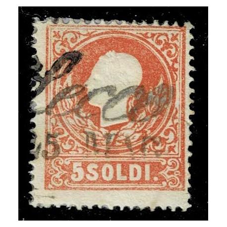 1858 ASI Lombardo Veneto 5 Soldi I° tipo Sas.25 - Annullo Corsivo Lecco