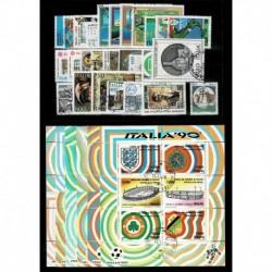 1990 Repubblica annata completa usata 27 francobolli + 6 foglietti