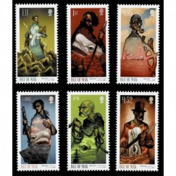 2019 Isle of Man Herman Melville e Moby Dick serie MNH/**