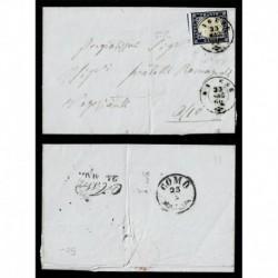 1860 - 20c Sas.15C su piego da Varese a Asso (Como) linee di riquadro