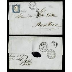 1861 Piego da Modena a Mantova 20c Sas.15Db