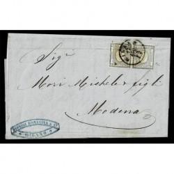 1863 coppia 1cent Sas.19 su lettera Milano a Modena datario capovolto