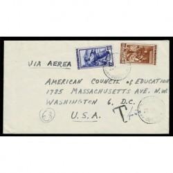 1951 Italia a Lavoro 20 + 100 Lire su lettera da Firenze a Washington
