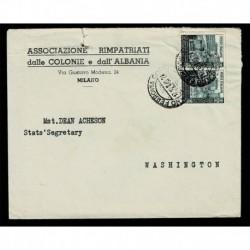 1949 Ponte di S. Trinità coppia su lettera da Milano a Washington