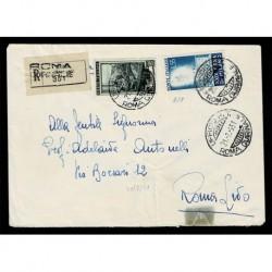 1951 Fiera di Milano su lettera raccomandata da Roma Quirinale a Roma Lido