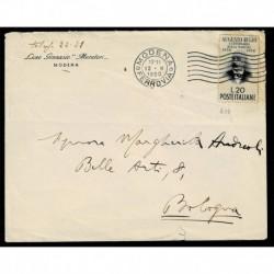 1950 Righi isolato su lettera da Modena (Liceo Muratori) a Bologna
