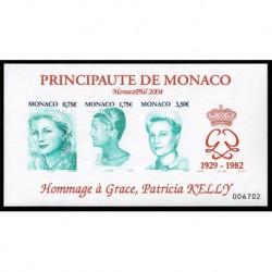 2004 Monaco Principezza Grace Kelly foglietto non dentellato