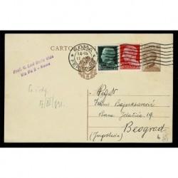 1931 Cartolina Postale affrancatura tricolore per Belgrado