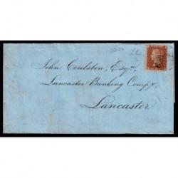 1856 Regno Unito One Penny Red su lettera per Lancaster pos. E-B
