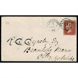 1862 Regno Unito One Penny Red R-I lettera Blackburn a Otley