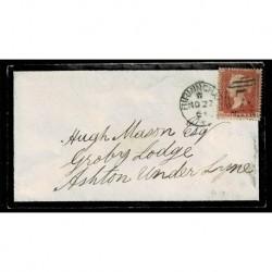 1861 Regno Unito One Penny Red Q-D lettera Birminghan a Ashton-under-Lyne