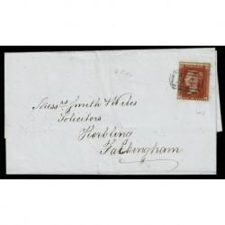 1854 Regno Unito One Penny Red J-E lD16 ettera Boston a Folatingham